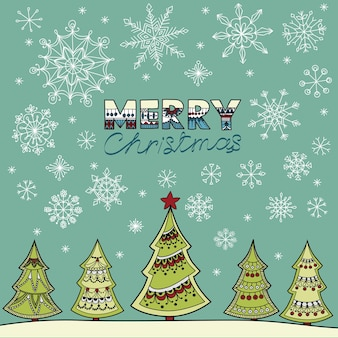 Vector illustration of christmas fir-tree, snowflakes and place for your text