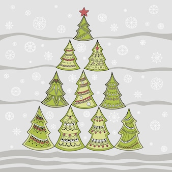 Vector illustration of christmas fir-tree and snowflakes