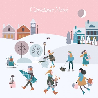 Vector illustration of christmas noise in the city. christmas people