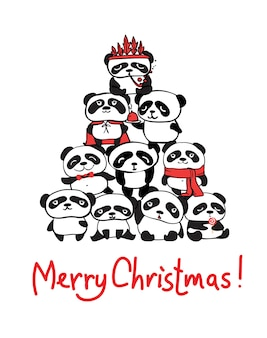 Vector illustration of christmas pandas trees, christmas and new year greetings. cute pandas with holiday hats
