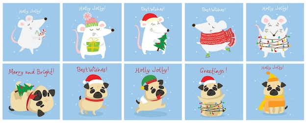 Vector illustration of christmas rats and dogs with christmas and new year greetings. cute pets with holiday hats