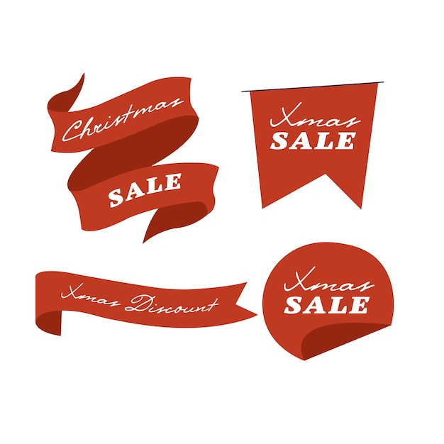 Vector illustration christmas sale ribbon and badges or banner isolated on white background.