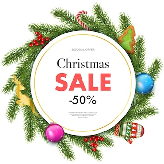 Vector illustration of christmas sale, xmas promotional web banner