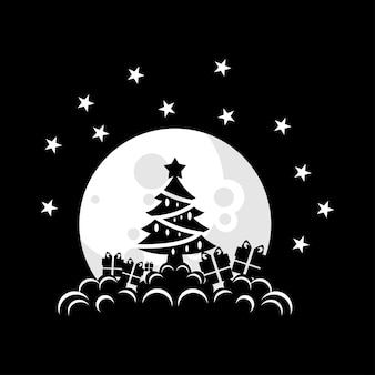 Vector illustration of a christmas tree on the moon