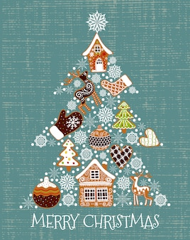 Vector illustration of a christmas tree shaped gingerbread and snowflakes.