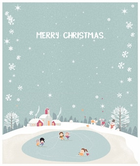 Vector illustration of a christmas winter landscape postcard in retro mint green color.