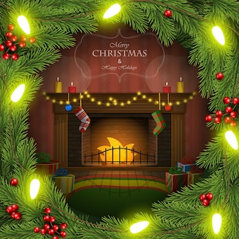 Vector illustration of christmas wreath with decorated fireplace inside