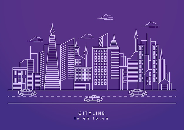 Vector illustration of city line with high skyscrapers