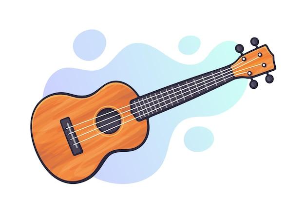 벡터 일러스트 레이 션. 클래식 어쿠스틱 기타 또는 우쿨렐레. 현악기. 블루스 또는 록 장비. 그래픽 디자인을 위한 윤곽선이 있는 클립 아트. 흰색 배경에 고립