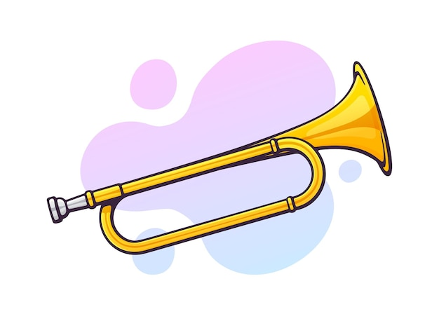 Vector illustration. classical music wind instrument horn. blues, jazz, ska, funk or orchestral equipment. clip art with contour for graphic design. isolated on white background
