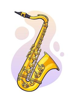 Векторная иллюстрация классическая музыка духовой инструмент саксофон