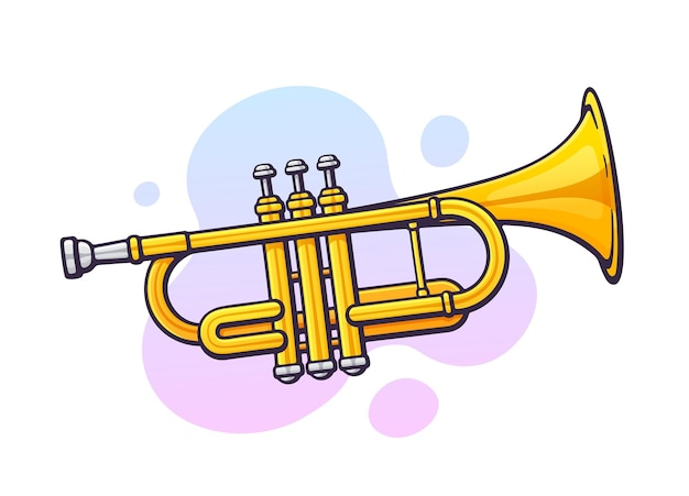 Vector illustration. classical music wind instrument trumpet. blues, jazz or orchestral equipment. clip art with contour for graphic design. isolated on white background