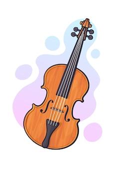 벡터 일러스트 레이 션. 활이 없는 클래식 나무 바이올린. 현악기 활 악기. 블루스, 재즈, 오케스트라 장비. 그래픽 디자인을 위한 윤곽선이 있는 클립 아트. 흰색 배경에 고립