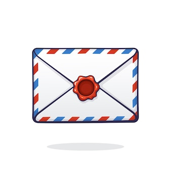 Векторная иллюстрация закрытый почтовый белый конверт с красными и синими полосами и красной сургучной печатью