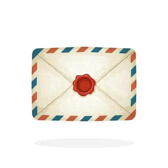 ベクトルイラスト赤いワックスシール付きの閉じたビンテージメール封筒受信メッセージを読んでいない