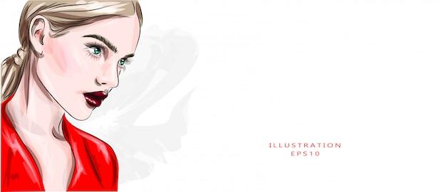 Векторная иллюстрация портрет крупного плана молодой красивой девушки с бургундской губной помадой. мода, красота, макияж, косметика, прическа, салон красоты, бутик, скидки, распродажа.