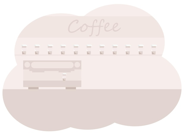 Vector illustration of coffee counter interior with coffee machine and coffee cups