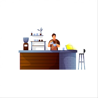 Vector illustration of coffee shop design element with barista standing behind of bar counter