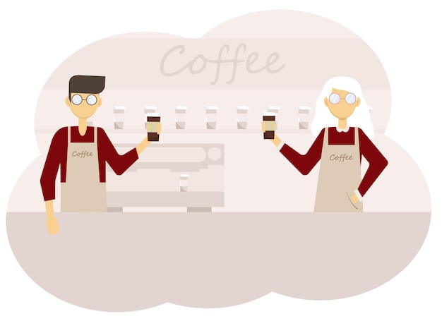 Vector illustration of coffee shop interior and team of man and woman barista with cups of coffee