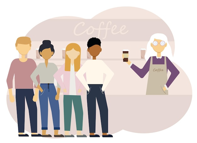 Vector illustration of a coffee shop interior with a woman barista at the counter and a long line of customers.