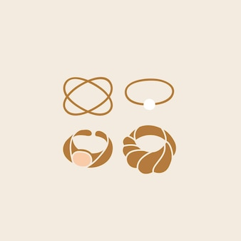 Vector illustration of collection of golden rings. stylish modern design of accessories.
