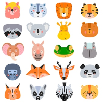 Vector illustration of collection of heads of assorted types of wild animals on white background