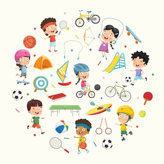 Vector illustration collection of kids and sport equipments