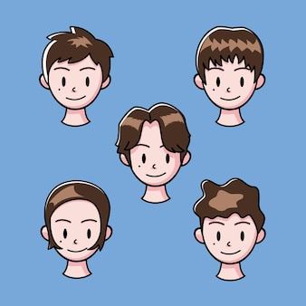 Vector illustration of a collection of male character heads