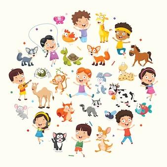 子供と動物のベクトル図のコレクション