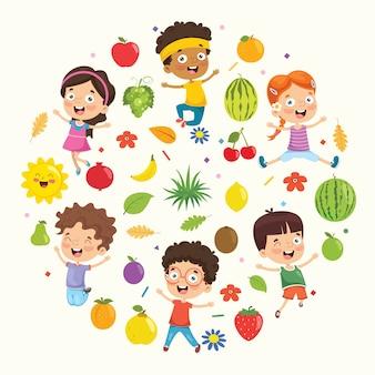 Векторная иллюстрация коллекция детей и фруктов