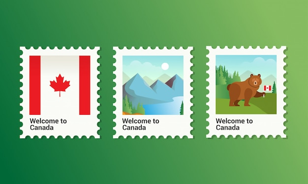 Vector illustration for collection postage stamp in canada good for canada tourism