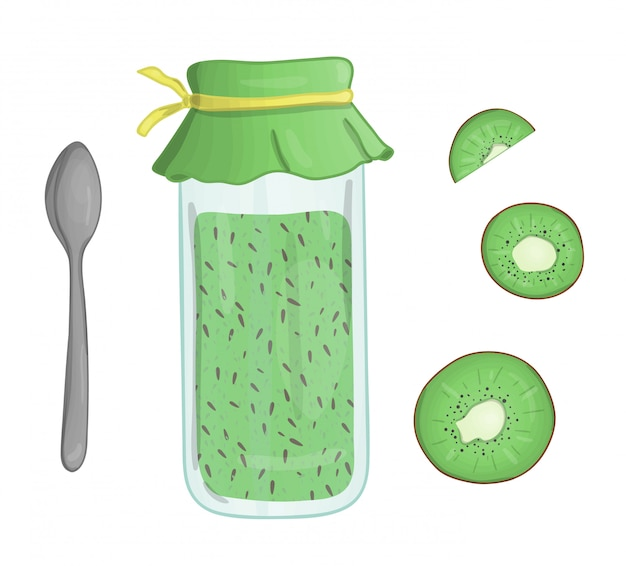 Vector illustration of colored jar with kiwi jam. kiwi piece, pot with marmalade, spoon isolated . watercolor effect.