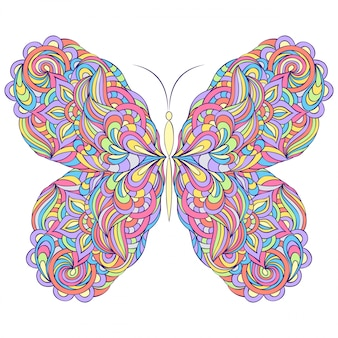 Vector illustration of colorful abstract butterfly