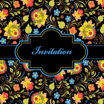 Vector illustration of colorful floral invitation card
