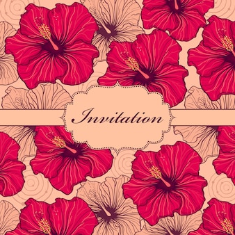 Vector illustration of colorful hand drawn floral invitation card