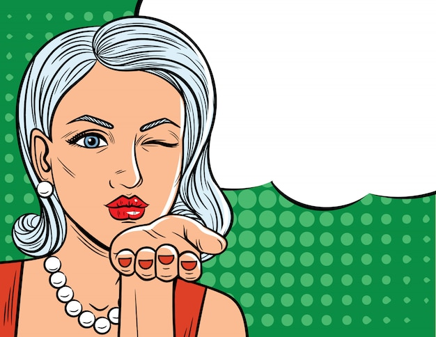 Vector illustration in comic art style of  pretty woman with winking eye. glamour lady with blonde hair sending a flying kiss