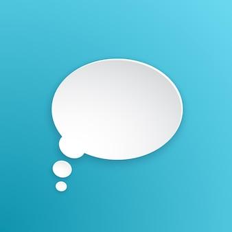Векторная иллюстрация комической речи пузырь для мыслей овальной формы в бумажной версии