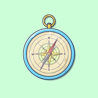 Vector illustration of compass with cartoon style