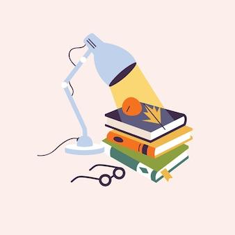 さまざまな本やメガネとベクトルイラスト構成テーブルランプ。