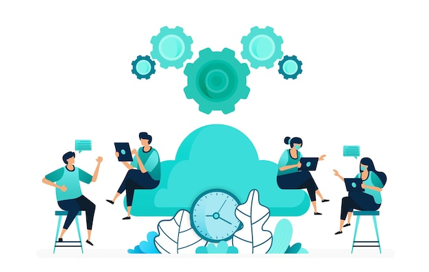 Vector illustration of computing time on storage and hosting servers. manage cloud network timing. group of women and men workers. designed for website, web, landing page, apps, ui ux, poster, flyer