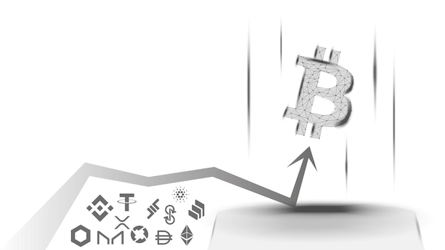 Vector illustration of a concept of the advantage of bitcoin over altcoins on white background. btc has overtaken all coins and is growing up. wireframe bitcoin symbol and up arrow.