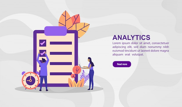 Vector illustration concept of analytics. modern illustration conceptual for banner template