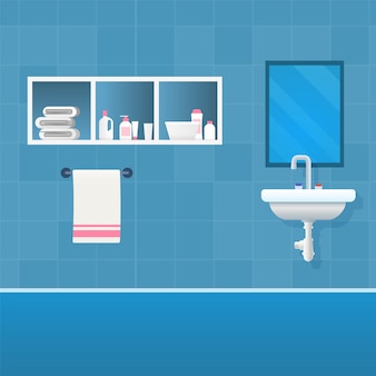 Vector illustration concept bathroom interior.