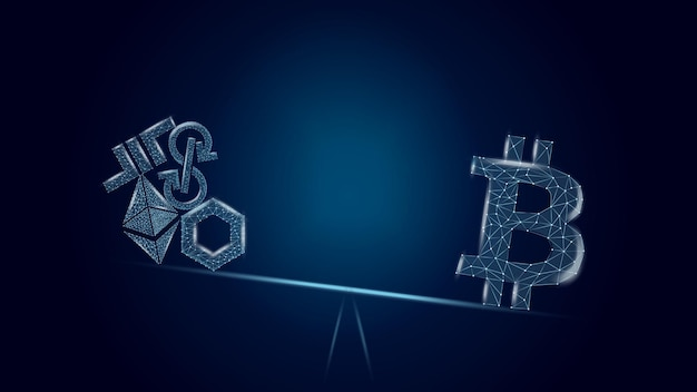 벡터 일러스트 레이 션 개념 어두운 파란색 배경에 altcoins에 비해 bitcoin의 장점. 저울에 있는 btc는 많은 다른 동전보다 큽니다. 와이어프레임 비트코인 기호입니다.
