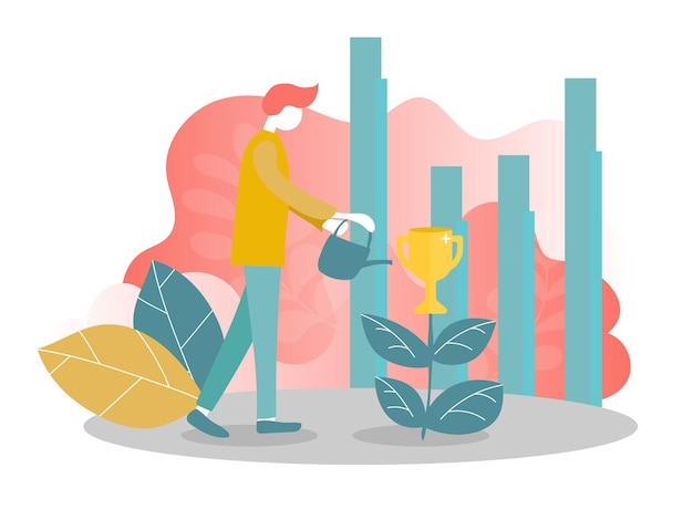 Vector illustration concept of business success, leadership, awards, career, successful projects, goal, winning plan, competition. creative flat design for web banner, business material.