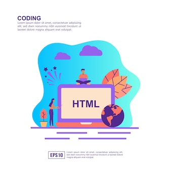 Vector illustration concept of coding