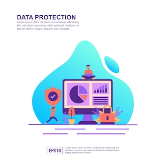 Vector illustration concept of data protection