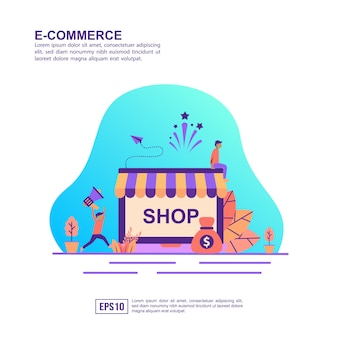 Vector illustration concept of e commerce