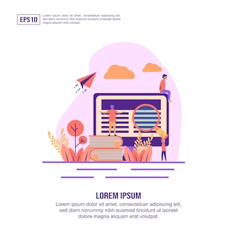 Vector illustration concept of e learning