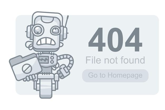 Vector illustration, concept file not found robot with folder, format eps 10